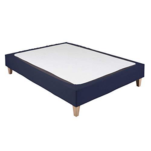 Cache-sommier Coton Jersey Bleu Marine 140x190 à 150x200