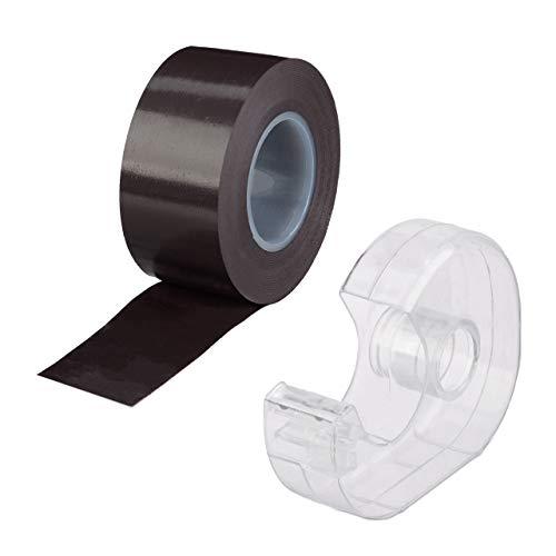 Relaxdays, schwarz Magnetband 5m, mit Abroller, selbstklebendes Klebeband, Magnetstreifen, für Whiteboard & Kühlschrank, 5 m