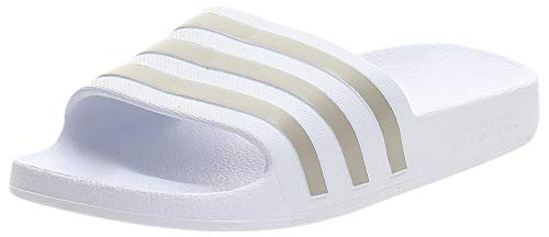 adidas Adilette Aqua, Ciabatta Unisex-Adulto, Bianco (Ftwr White/Platin Metallic/Ftwr White), 40.5 EU