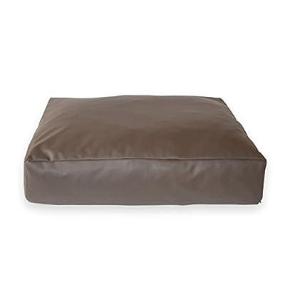 Eco–Piel Sintética dormir cojín. Rectangular de mascota Perro Cama, Funda extraíble, espuma de alta densidad, muy robusta. Fácil de almacenar y transportar.