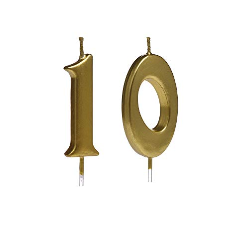 Gold 10th Birthday Candles,Number 10 Cake Topper for Party Decoration