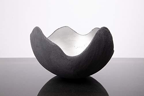 Lichtschale silber - M (20cm) - Beton schwarz-grau - Unikat handmade - Geburtstagsgeschenk - Einzigartiges Geschenk - Weihnachtsgeschenk - Hochzeitsgeschenk