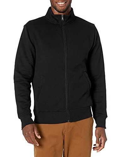 Amazon Essentials Men's Standard Full-Zip Fleece Mock Neck Sweatshirt, Black Medium