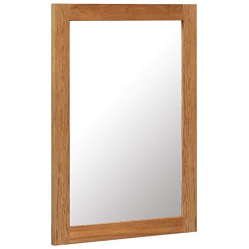Festnight- Spiegel 50 x 70 cm Massivholz Eiche | Wandspiegel mit Holzrahmen | Flurspiegel Holzspiegel Badezimmerspiegel