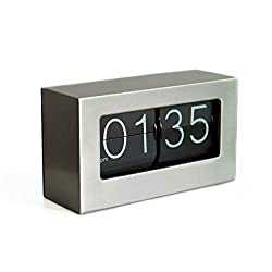 Rejea WonderZoo Auto Flip Clock, Stainless Steel Wall Mounted, Desktop Tabletop Clock for Shelf, 10.5 x 6 x 3.2 inches, Decorative with Premium Cards Flipping Down Clock for Office, Home, Desk & Shelf