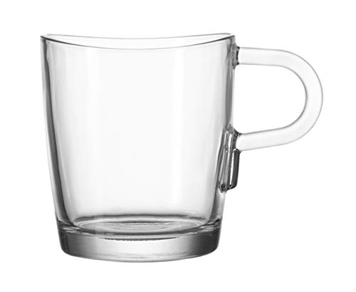 Leonardo Loop Kaffeetasse, 6-er Set, 260 ml, spülmaschinengeeignet, hitzebeständiges Klarglas, 043365