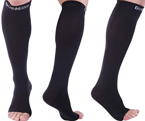 Doc Miller Open Toe Compression Socks 1 Pair 15-20 mmHg Firm Graduated Support for Circulation Surgery Recovery Varicose Veins POTS (Black, L)