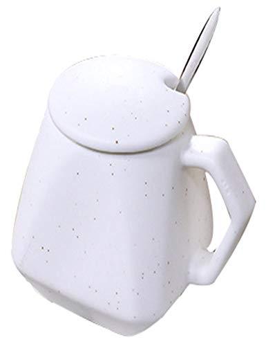 SJQ-coffee pot Fashion Creative Iramic CéRamique Coupe - Tasse Polygone - Tasse à Café Premium - Couvert CuillèRe Tasse - Multicolore en Option - MéNage 300 ML