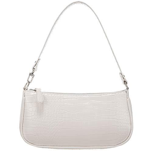 Shoulder Bags for Women, Retro Classic Tote HandBag Crocodile Pattern Clutch Mini Purse with Zipper Closure, White