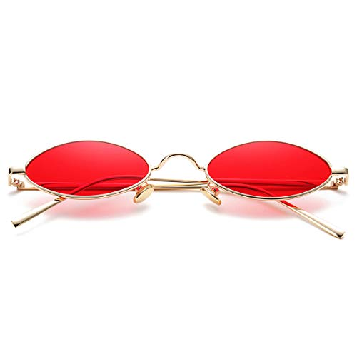 Vintage Small Oval Sunglasses for Women Men Hippie Cool Metal Frame Sun Glasses (Gold Frame/Red Lens)
