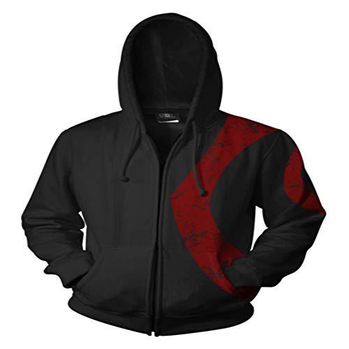 avis equipement god of war professionnel BAOAO Unisexe 3D Print Hoodie Veste à capuche à manches longues pour hommes…