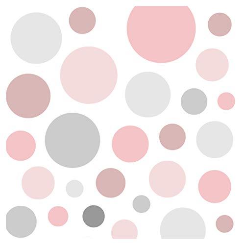 Little Deco Wandaufkleber 86 Punkte Kinderzimmer Mädchen Kreise I rosa grau I Wandtattoo Klebepunkte Wandsticker Set Dots bunt selbstklebend DL539-20