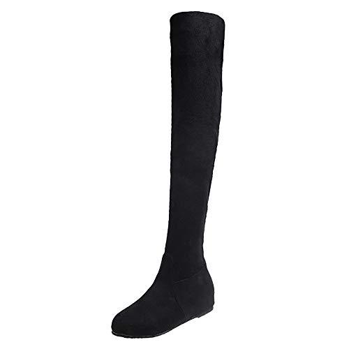 MYMYG Damen Leder Stiefel Frauen Winter Wildleder Slip-On runde Zehe hoch Stiefel Overknee-Schuhe Stiefel Freizeitschuhe Langschaft High Boots Flache Lederstiefel