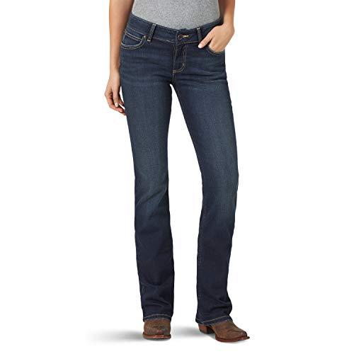 Wrangler Women's Retro Mae Mid Rise Stretch Boot Cut Jean, Ruby, 9W x 30L