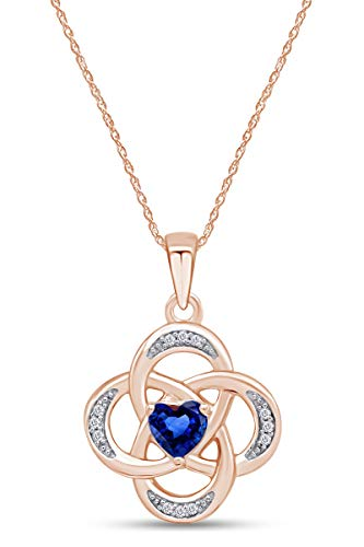 AFFY Celtic Knot Simulated Sapphire Pendant Necklace in 14k Rose Gold Over Sterling Silver W/Chain 18'