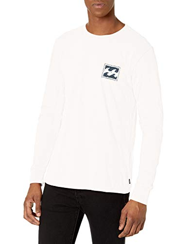 Billabong Men's Long Sleeve Premium Logo Graphic Tee T-Shirt, Off White Crayon, S