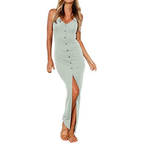 Shujin Damen Sommer Clubwear Spaghetti Trägerkleid mit Knopf Vorne Schlitz Sexy Eng Partykleid Figurbetont Bodycon Maxi Wrap Kleid- Gr. Medium, Hellgrau