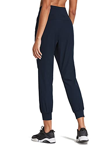 BALEAF Women's 7/8 High Wasited Joggers Lightweight Athletic Running Sport Pants Quick Dry Navy L
