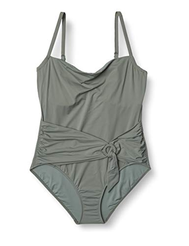 Seafolly Women's DD Cup One Piece Swimsuit with Sash Front, Active Olive Leaf, 12 US