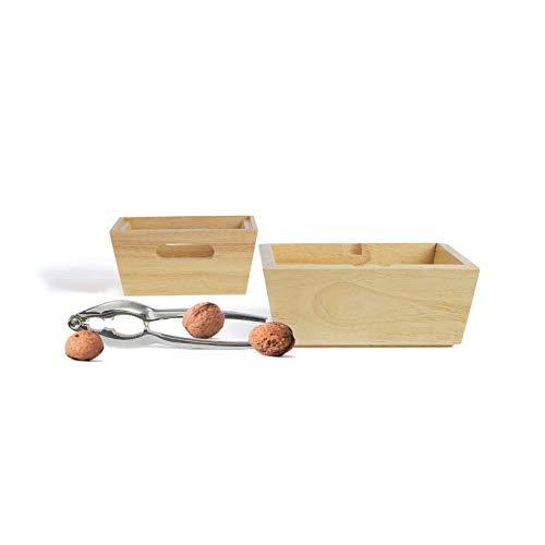 Nussknacker-Set - Nussknacker Set mit 2 Bambusschalen zum Servieren - Nuss-Knacker mit stapelbaren Servierschalen für verschiedene Nüsse geeignet
