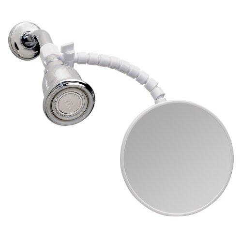"iDesign - 20301 Fog-Free Small Shower Shaving Mirror with Flexible Arm, Fogless Mirror for Bathroom, Vanity, Bathtub, Wall, 14"" x 4.5"" x 5.82"", White"