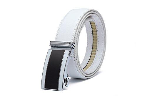 Miuno,1511-L, cintura da uomo regolabile, con fibbia automatica, in confezione regalo, bianco, Taglia unica