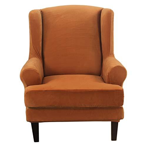 SHANNA Wingback Chair Covers, Spandex Armchair Covers Sofa Cover Stretch Wing Chair Slipcover for Armchairs - Flange Orange