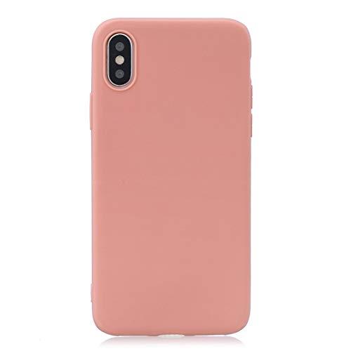 KIOKIOIPO-N Funda Protectora del Color sólido de la Manera TPU Helada for iPhone XR (Color : Coral Orange)