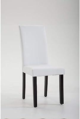 SHIITO Silla de Comedor tapizada en Polipiel Blanca con Patas Negras. Modelo Enara