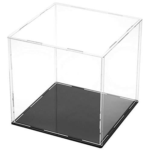 ROYCAR Vitrina de acrílico Transparente - Caja de encimera de Cubo con Soporte Vertical, Vitrina a Prueba de Polvo para Juguetes coleccionables (9.8x9.8x9.8in)