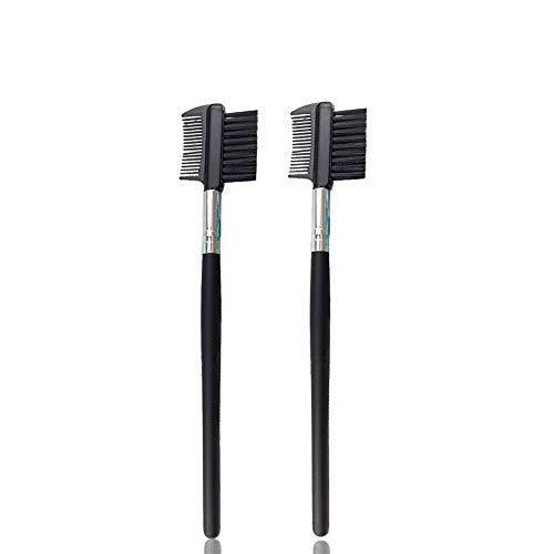 Gobesty Wimpernkamm, 2 PCS 2-in-1-Augenbrauenbürste mit Kamm Doppelseiten für Frauen Make-up Kosmetik Schwarz