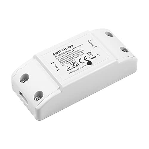 Interruptor WiFi inteligente Woolley, módulo DIY con botón de encendido/apagado, compatible con Alexa, Google Home y aplicación eWelink, color blanco, 1 unidad
