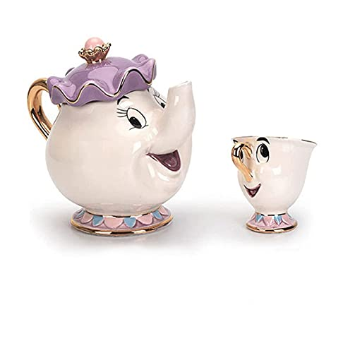 Tetera de la marca de dibujos animados nueva belleza y la bestia taza de la tetera de la señora Potts Chip Tea Pot Cup un conjunto encantador y taza set taza de la tetera