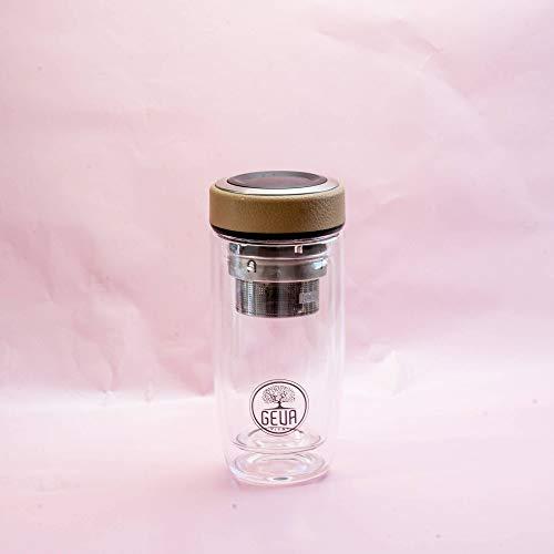 GEVA Vital Premium Teeflasche mit Sieb to Go - Tee Kaffee und Fruit Infuser - Thermobecher - Thermoskanne - Trinkflasche aus Glas mit Teesieb (Beige)