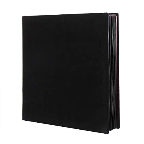 Fotoalbum självhäftande scrapbook sammetskonst gör-det-själv minnesbok tjocka sidor med skyddsfilm spara bilder permanent, bästa presentvalet, 28 cm x 30 cm för 120 foton (svart)