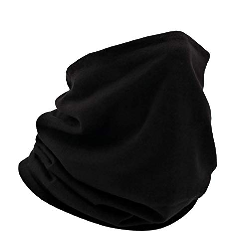 Adjustable Cotton Face Cover Neck Gaiter Scarf Mask Bandana Soft Breath Freely Reusable (Men's Black)