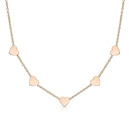 LENIRA® Hochwertige Frauen Halskette - Zarte 5 Herz Kette + Schmuckschachtel (Rosegold)