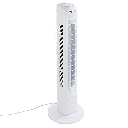 Arebos Turmventilator weiß | 50 Watt | oszillierend | 3 versch. Stufen | sparsam | ruhiger lauf | mit Tragegriff