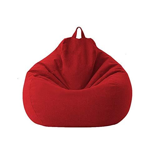 Groß Klein Faule Sofas Abdeckung Stühle Nur ohne Filler Leinenstoff Lounger Sitz Bean Bag Couch Tatami Wohnzimmer (Color : Dark red7)