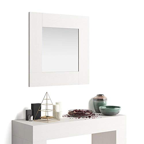 Mobili Fiver, Espejo de Pared Cuadrado, Modelo Evolution, Color Fresno Blanco, Aglomerado y Melamina/Vidrio, Made in Italy