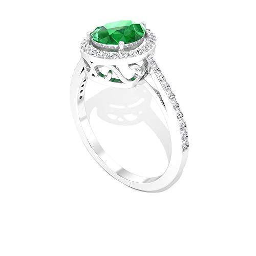 1,30 ct Birnenform Smaragd diffus zertifizierter Diamant Halo Verlobungsring, Solitär Tropfenform Grüner Edelstein Trauringe, Mai Geburtsstein Versprechen Ring Geschenke, 14K Weißes Gold, Size:EU 58