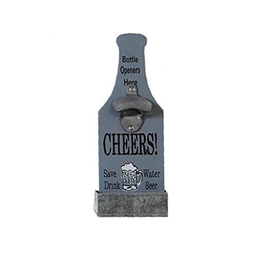 NaisiCore Abrebotellas, Retro de la Pared Montado Abridores Botella de Cerveza con la Caja de almacenaje de Hierro, de Madera Creativo de la Vendimia de la Cerveza Herramienta de la Abertura p