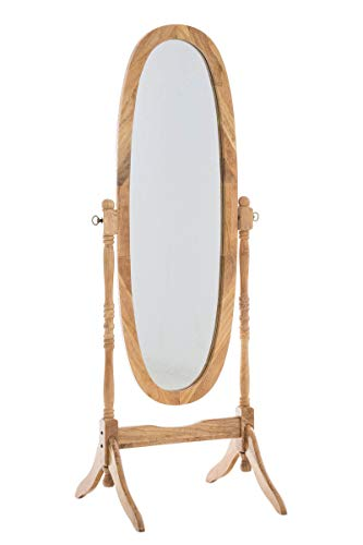 CLP Holz-Standspiegel Cora I Ovaler freistehender Spiegel im Landhausstil I Neigbarer Ganzkörperspiegel mit Holzgestell I Größe 150 x 60 cm, Farbe:Natura