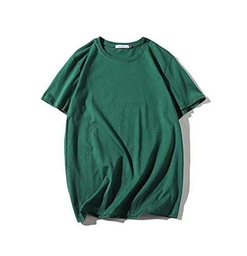 DDZYQ T-Shirt Uomo Estate Loose-Fit Girocollo Uomo Casual Camicie Base Tinta Unita Maniche Corte Sportiva Shirt Casual Confortevole Traspirante Uomo Corsa Shirt B-Green L