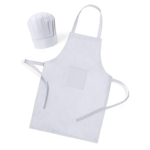 Delantal Blanco con Gorro de Cocinero para cocinar, Regalos para niños en cumpleaños Infantiles colegios y Eventos Fiesta Infantil