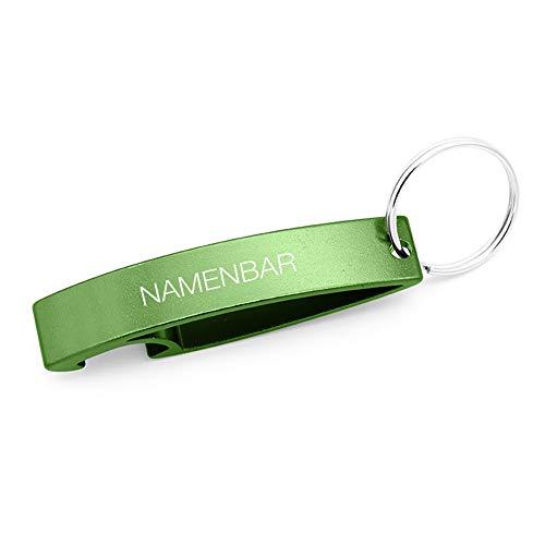 Schlüsselanhänger mit Gravur/Schlüsselanhänger mit Namen - persönlicher Flaschenöffner mit Gravur - grün