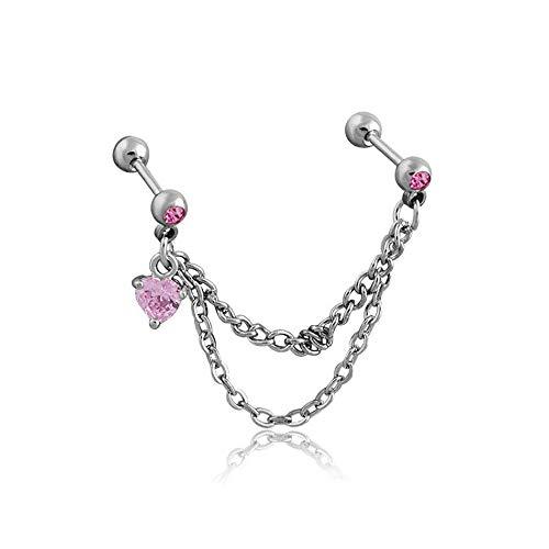 LJSLYJ Titanium Steel Double Chain Earbone Women Love Zircon Earrings,Pink