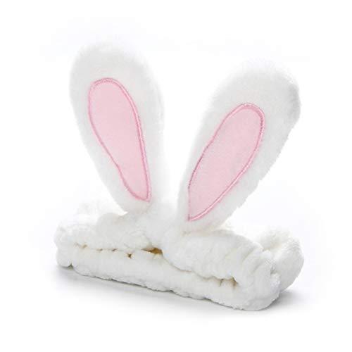 SASKATE Diadema de maquillaje para mujer, linda diadema de orejas de conejo, banda elástica de franela para baño, ducha y lavado de cara, yoga y deportes