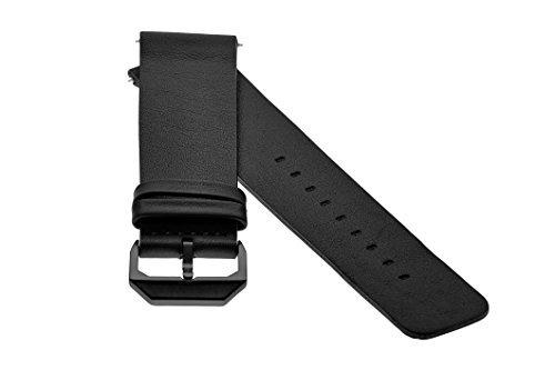 slow - Schwarzes Lederband mit schwarzem Verschluss - 20mm Breite