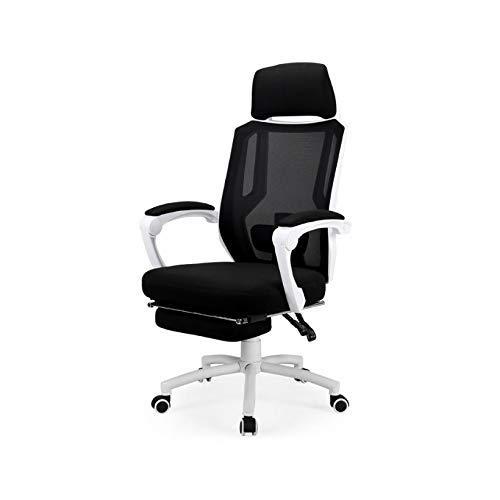 Ygqbgy Reclining Office Desk Chair Verstellbarer ergonomischer Computer Mesh Recliner Home Office-Stühle mit hoher Rückenlehne und Fußstütze und Lordosenstütze (Farbe: Weiß)